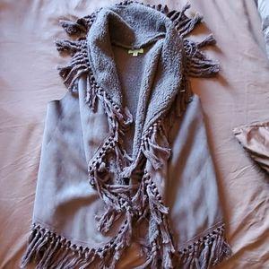 Gray fringe vest